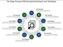 Ten Steps Process With Document And Search Icon Text Boxes