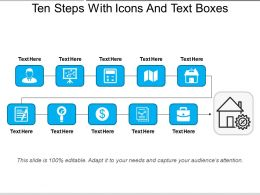 Ten Steps With Icons And Text Boxes