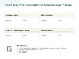 Tenant And Owner Contract For Commercial Lease Proposal Ppt Powerpoint Presentation Icon Graphics Pictures