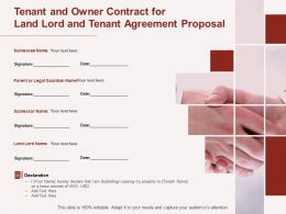 Tenant And Owner Contract For Land Lord And Tenant Agreement Proposal Ppt Powerpoint Ideas