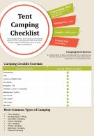 Tent Camping Checklist Presentation Report Infographic PPT PDF Document
