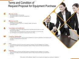 Terms And Condition Of Request Proposal For Equipment Purchase Ppt Powerpoint Presentation Layouts