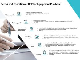 Terms And Condition Of RFP For Equipment Purchase Ppt Powerpoint Presentation Inspiration Graphics