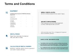 Terms And Conditions Equipment Ppt Powerpoint Presentation Layouts Layout