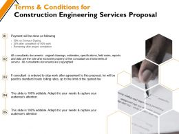 Terms And Conditions For Construction Engineering Services Proposal Ppt Powerpoint Presentation Layouts Rules