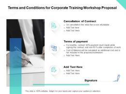 Terms And Conditions For Corporate Training Workshop Proposal Ppt Powerpoint Visuals