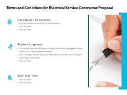 Terms And Conditions For Electrical Service Contractor Proposal Ppt Slides