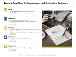 Terms And Conditions For Landscapers And Horticulture Designers Ppt Slides