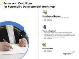 Terms And Conditions For Personality Development Workshop Ppt Powerpoint Graphic