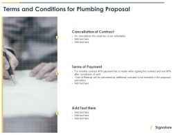 Terms And Conditions For Plumbing Proposal Ppt Powerpoint Slides