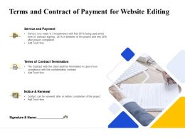 Terms And Contract Of Payment For Website Editing Ppt Powerpoint Slides Pictures