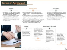 Terms Of Agreement Privacy Policy Definitions Payments Ppt Powerpoint Presentation Infographics