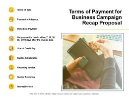 Terms Of Payment For Business Campaign Recap Proposal Invoice Factoring Ppt Powerpoint Slides