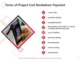 Terms Of Project Cost Breakdown Payment Ppt Powerpoint Presentation Ideas Grid