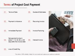 Terms Of Project Cost Payment Ppt Powerpoint Presentation Infographic Template Themes