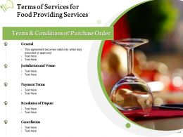 Terms Of Services For Food Providing Services Ppt Powerpoint Presentation Visual Aids Show