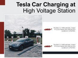Tesla Car Charging At High Voltage Station