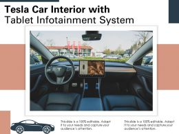 Tesla Car Interior With Tablet Infotainment System