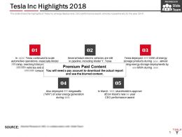 Tesla Inc Highlights 2018