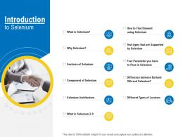Test Automation With Selenium Introduction To Selenium Ppt Powerpoint Portfolio Structure