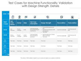 Test Cases For Machine Functionality Validation With Design Strength Details