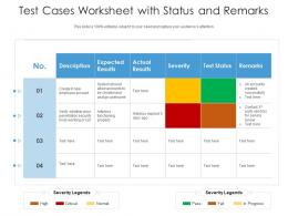 Test Cases Worksheet With Status And Remarks