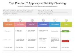 Test Plan For It Application Stability Checking