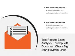 Test Results Exam Analysis Envelop With Document Check Sign Start Reviews Lines