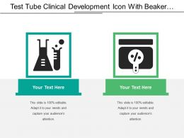 Test Tube Clinical Development Icon With Beaker And Magnifying Glass