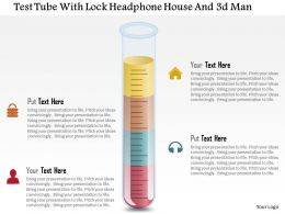 Test Tube With Lock Headphone House And 3d Man Powerpoint Template