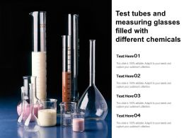 Test Tubes And Measuring Glasses Filled With Different Chemicals