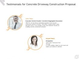 Testimonials For Concrete Driveway Construction Proposal Ppt Powerpoint Presentation Styles Outfit