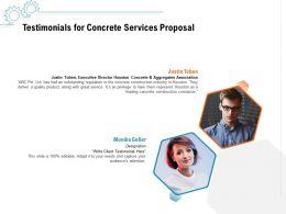 Testimonials For Concrete Services Proposal Ppt Powerpoint Presentation File Gridlines