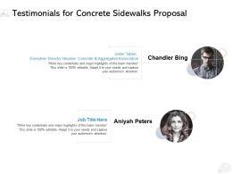Testimonials For Concrete Sidewalks Proposal Ppt Powerpoint Presentation Templates