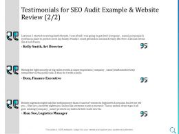 Testimonials For SEO Audit Example And Website Review L1434 Ppt Powerpoint Graphic Tips