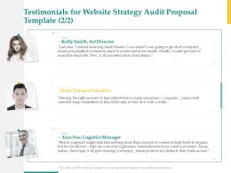 Testimonials For Website Strategy Audit Proposal Template Executive Ppt Powerpoint Layout