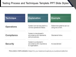 Testing Process And Techniques Templets Ppt Slide Styles