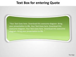 text box simple elegant with curved edges green for entering quote powerpoint templates 0712
