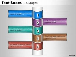 Text Boxes 5 Stages Diagram
