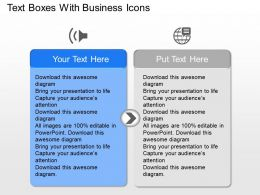 Text Boxes With Business Icons Powerpoint Template Slide