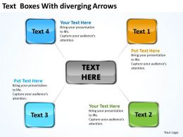 text boxes with diverging arrows Cycle Process Diagram PowerPoint templates