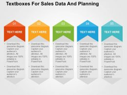 Textboxes For Sales Data And Planning Flat Powerpoint Design
