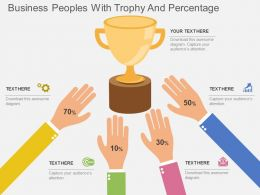 tg Business Peoples With Trophy And Percentage Flat Powerpoint Design