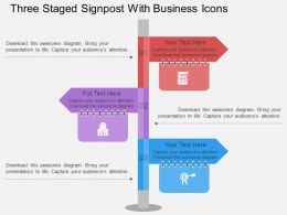 tg_three_staged_signpost_with_business_icons_flat_powerpoint_design_Slide01