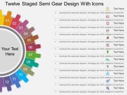 th Twelve Staged Semi Gear Design With Icons Flat Powerpoint Design