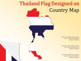 Thailand Flag Designed On Country Map