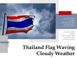 Thailand Flag Waving Cloudy Weather