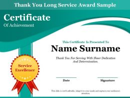 Thank You Long Service Award Sample