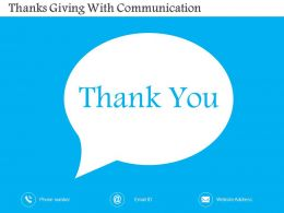 Thanks Giving With Communication Flat Powerpoint Design