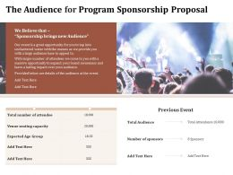 The Audience For Program Sponsorship Proposal Ppt Powerpoint Presentation Pictures